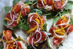 Spring Bruschetta Recipe By Zama Beef Strips, Bruschetta Recipe, Easy Entertaining, Ciabatta, Easy Food To Make, In The Flesh, Eating Habits, Caprese Salad, Cherry Tomatoes