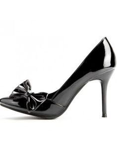 Patent Leather Pointed Toe Bow Side High Heels
