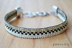 Métier à tisser Bracelet de perles / / réglable / / amitié Bracelet Beige et crème