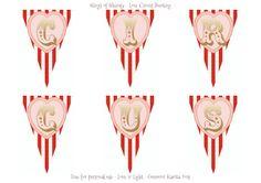 Wings of Whimsy: Love Circus Garland - free printables #vintage #valentine #freebie