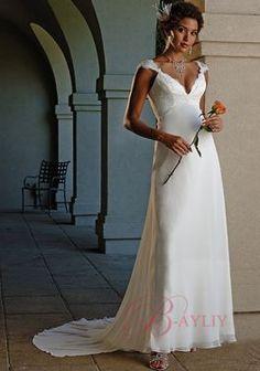 A-line Maternity Wedding Dresses Empire Cap Sleeves V-Shaped Neckline Chiffon wyn-w110