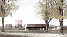 Dessin du musée Soulages à Rodez (Aveyron) par le cabinet catalan RCR Arquitectes.