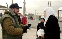 At IDF Security Checkpoints Humanitarian Officers talk to unarmed civilians and offer a helping ear and hand. This woman, who wanted to see her family, did not have the right papers. A few minutes after this photo was taken, I escorted her and her children through the checkpoint. We all need to show respect and tolerance to one another. Photo of Joel Leyden (copyright)