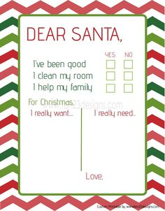 dear santa printable christmas list