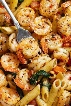 Tomato Spinach Shrimp Pasta — Bold flavors star in this one pot dinner, ready in 30 minutes.