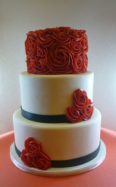 Buttercream Rose Cake | Flickr - Hate the red and black, love the idea.