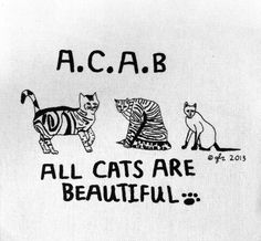 Art Punk Patches Punk Patch Print DIY Animal Rights ACAB A.C.A.B Cat All Cats are Beautiful Crust Anarcho Punk Humor Cute Small Cloth Patch