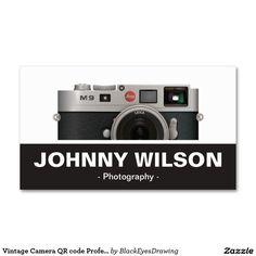 Vintage Camera QR code Professional Photographer Business Card