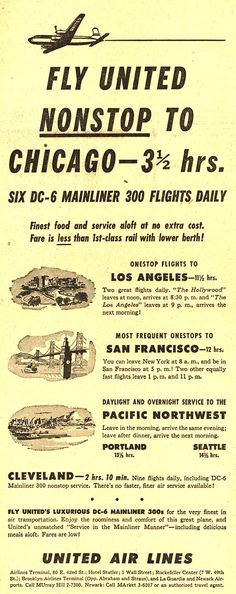 United Air Lines - Only 13 ⅓ hrs to Chicago, 1950