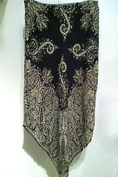 GAP Bohemian Paisley Pointed Hem Fringe Skirt Lined Made India Woman's SZ 6 EUC