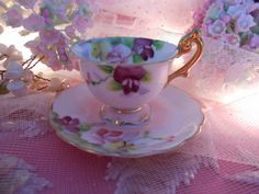 vintage wee china floral pink and white child's by polkadotrose