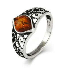 Fall in love with this honey-colored Antique Scroll Design Sterling Silver Baltic Amber Ring.