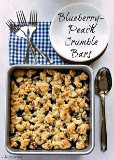 Blueberry-Peach Crumble Bars!! Sounds delicious and the fruit is in season right now!!!