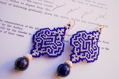 Arabesque in Blue and White: OoaK Keshi Pearl Earrings with Lapis Lazuli Gemstones 13 - 148