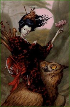 owl and woman by Esao A