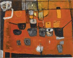 William Scott, Figure and Still Life, 1956, Oil on canvas, 121.9 × 153 cm / 48 × 60¼ in, Private collection