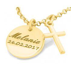 Eine schöne Kette aus 925 Sterling Silber vergoldet nach Ihren Wünschen graviert.