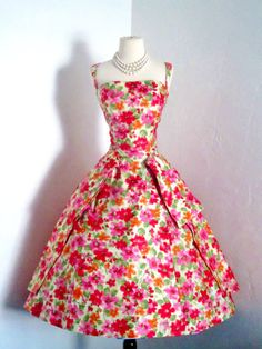 vintage 1950's Gigi Young sculptural parisian watercolor floral dior inspired cocktail party formal dress