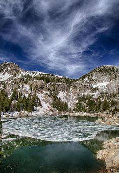 Spring Ice Off Lake Mary, Estes Park, Rocky Mountain National Park, CO --- summer fishing here is great!