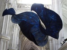 The exposition of the paper sculptures in the abbey church of Saint Riquier, close to Abbeyville, Somme, Northern France