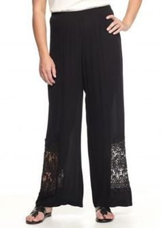 New Directions  Plus Size Crochet Inset Crinkle Palazzo Pants