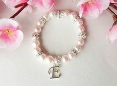 Personalized flower girl bracelet name bracelet pearl