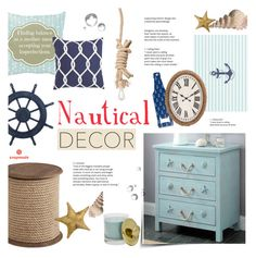 """Nautical Decor"" by alexandrazeres ❤ liked on Polyvore featuring interior, interiors, interior design, home, home decor, interior decorating, Pier 1 Imports, Modern Alchemy, lightblue and anchor"