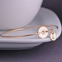 Etsy Gold Pet Jewelry, Personalized Pet Memorial Jewelry, Gold Paw Print Bracelet, Pet Lover Gift