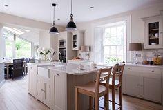 Suffolk kitchen with barstools #neptune #kitchen www.neptune.com