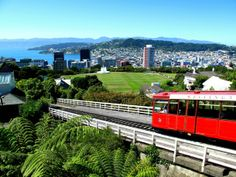 The Wellington Cable Car overlooks the city centre in Wellington, NZ.