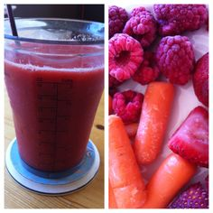 Carrot, watermelon, raspberry and strawberry smoothie:  1/2 cup fresh grated carrot + 1 cup frozen strawberry, raspberry and watermelon.  Blend with water, juice or chilled green tea.  YUM!