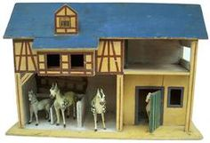 Late 19th Century wooden toy horse stable