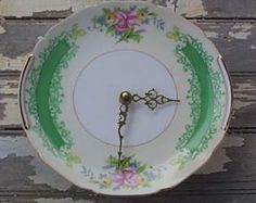 Vintage rose china clock. What to do with those saucers whose pretty little cups have gone missing or got broken. Make it a functional piece