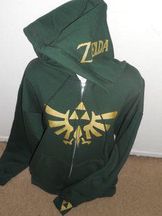 2X green Legend of Zelda zip up hoodie adult. $65.00, via Etsy.