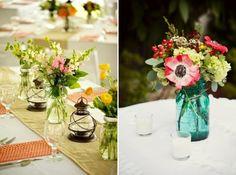 rustikale Vase Marmeladenglas Laterne Blumengestecke grün