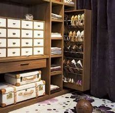 Luxurious walk-in closet design with purple velvet curtains and green and purple floral rug. Walk in closet with buil tin cabinets featuring accessory cabinet, sweater shelves and pull-out shoe cabinet. Closet Storage, Built In Storage, Bedroom Storage, Closet Organization, Shoe Organizer, Organization Ideas, Storage Shelves, Organizing, Cabinet Storage