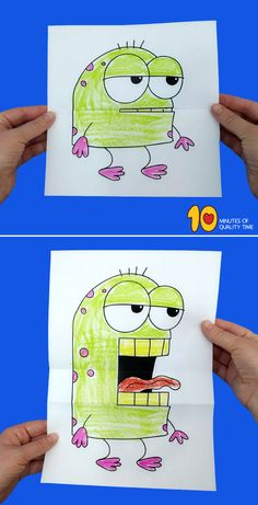 Folding Surprise Monster Diy Crafts For Kids Easy, Craft Activities For Kids, Toddler Crafts, Crafts To Do, Toddler Activities, Projects For Kids, Kids Crafts, Art Drawings For Kids, Drawing For Kids