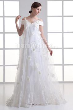 Robe de mariée enceinte avec bretelle en dentelle à fleur [#ROBE2011279] - robedumariage.com