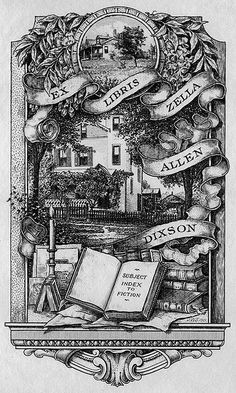 Bookplate of Zella Allen Dixson Artist: Spenceley, J. Winfred (Joseph Winfred), 1865-1908 Date: 1901 Description: States, 'Ex Libris Zella Allen Dixson;' features a street setting with a house, garland, a shelf with books, papers and a candle. Unsigned. Format: 1 print, b&w Source: Pratt Institute Libraries, Special Collections 311 (sc00430) Pratt Libraries Website For inquiries regarding permissions and use fees, please contact: rightsandrepro.library@pratt.edu.