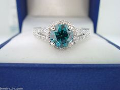 Blue & White Diamond Engagement Ring 1.36 Carat VS2 14K White Gold handmade on Etsy, $2,850.00