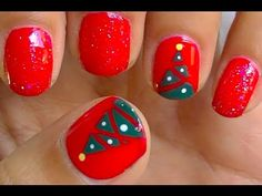 EASY Christmas Tree Nails - YouTube