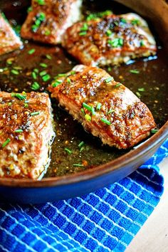 For this Thai Sweet Chili Glazed Salmon I use Birds Eye pepper, fish sauce, palm sugar, lime, water and tamarind paste for the marinade. Baked and then a quick broil for perfection. Baked Salmon Recipes, Fish Recipes, Seafood Recipes, Asian Recipes, Great Recipes, Vegetarian Recipes, Dinner Recipes, Cooking Recipes, Healthy Recipes