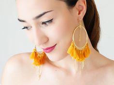 Dangle Earrings – Burgundy Tassel Hoop Earrings / TASSERA – a unique product by Epuu on DaWanda