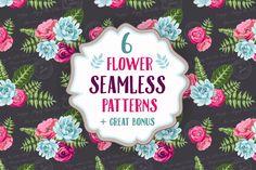 FREE this week on Creative Market: Set of 6 seamless flower patterns by DaryaGribovskaya Download link: http://crtv.mk/q0BJo