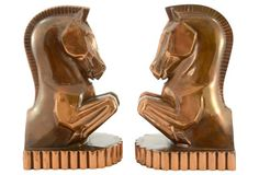 1930s Copper Horse Bookends