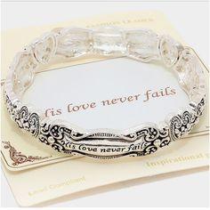 """His Love Never Fails Bracelet NWT - Antique silver """" his love never fails"""" stretch inspirational bracelet Jewelry Bracelets"""
