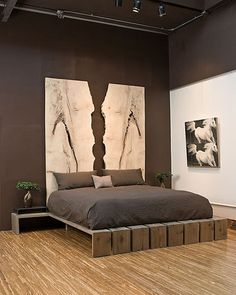 I'm in love with this bed, even if it's a touch modern. A possible DIY?