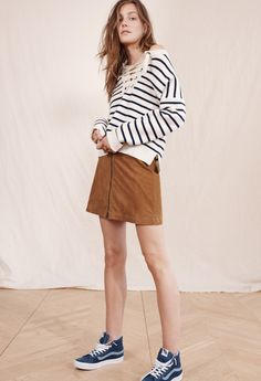 madewell striped lace-up sweater worn with the suede zip mini skirt + madewell x vans® sk8-hi high-top denim sneakers.