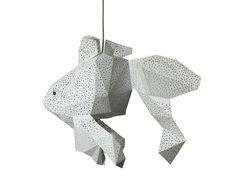 Fish Kids Room Lamp, Designer Lighting, DIY Pendant Light, Livingroom Decor, Led Nightlight, Natural Lampshade, White Bedroom Lamps