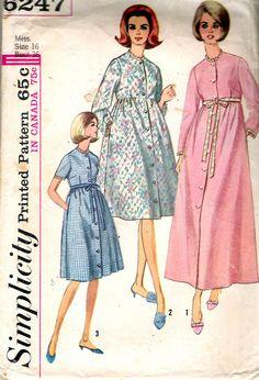 """Robe di semplicità 6247 Vintage 1965 in due lunghezze per cucire modello taglia 16 Busto 36"""""""